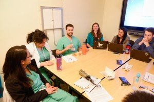 School of Veterinary Medicine students meet with School of Medicine students during a One Health collaboration session. Photo by Don Preisler/UCDavis
